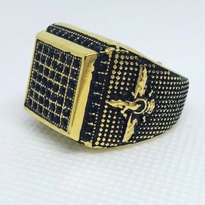 Other - Men's Stainless Steel Black Pave Ring